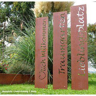 Beschriftung Mit Wunschtext 1 X Rostige Garten Stele Mit Ihrem Individuellen Text 1cm Hoch 20cm Erdspiesse 20cm Edelrost Gartenstelen Gartendekoration
