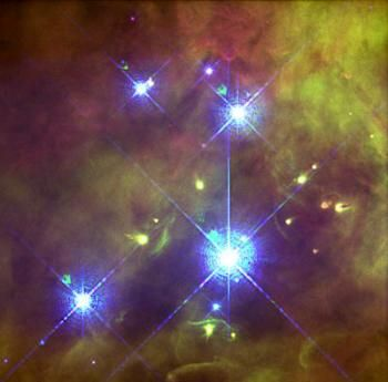 """Trapezium cluster in the Orion nebula. The four brightest stars form a trapezium shape. The very brightest star of them is Theta1 Orionis C, which is actually a close binary. (Credit: John Bally, Dave Devine, and Ralph Sutherland, STScI, NASA) Mona Evars"""" http://www.bellaonline.com/articles/art300366.asp"""