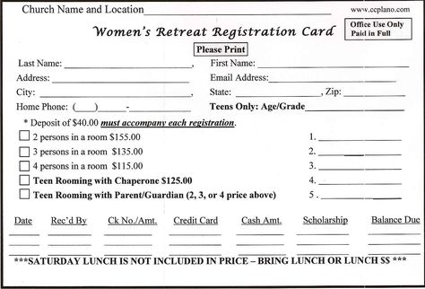 Retreat Registration Form Sample  Magikal Moments Women Retreat