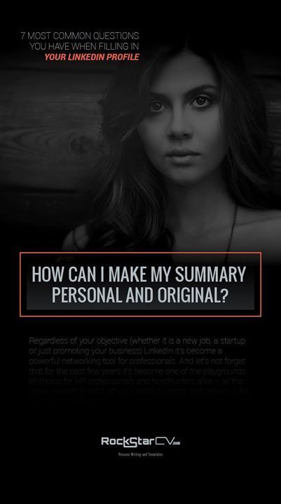 How Can I Make My Summary Personal And Original Linkedin Resume Career Http Rockstarcv Com 7 Common Q This Or That Questions Linkedin Profile Resume Tips
