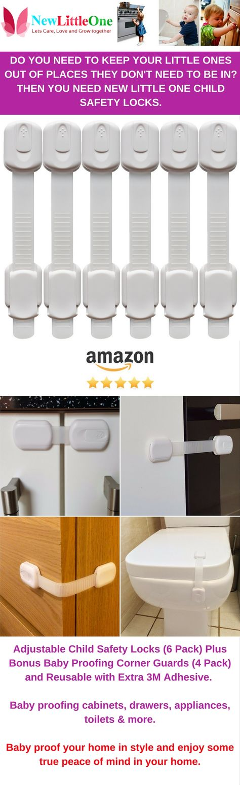 Adjustable child safety locks (6 pack) plus bonuses baby proofing corner guards (4 pack) and reusable with extra 3M adhesive. The best way to baby proof your home to keep little ones out of cabinets, drawers, appliances, toilets & more. View on Amazon: https://www.amazon.com/Proofing-Reusable-Adhesive-Cabinets-Drawers/dp/B01AZN0L78