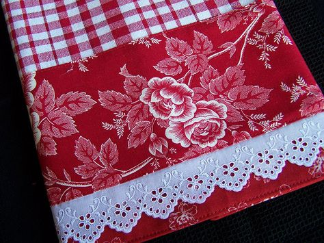 Red checked towel with fancy lace  | kitchen | Kitchen