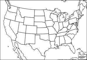 US outline maps, with or w/o names and state lines   United ...