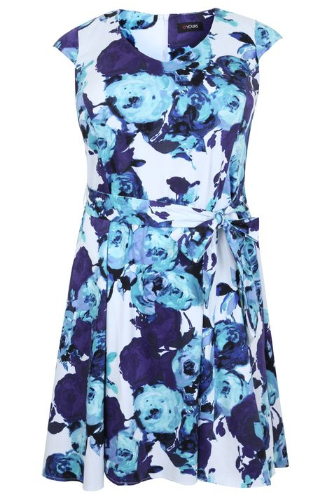YOURS LONDON Ivory Floral Tea Dress, Plus size 16 to 32