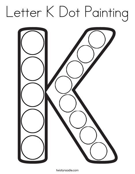 Letter K Dot Painting Coloring Page Twisty Noodle Preschool Letters Letter N Crafts Do A Dot