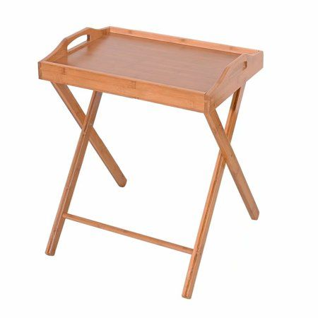 Wood Folding Tv Tray Portable Table Natural Color Wooden