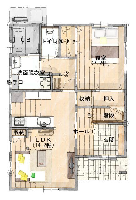 南側の開放的なスペースを充実させた家 1ldk 間取り 間取り 35坪 間取り