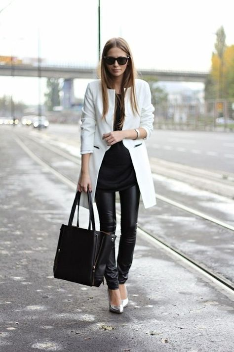 Black and white look chic, lässiger look, uñas fashion, fashion models, whi