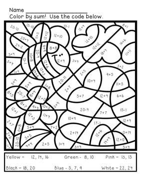 Math Coloring Sheets for Spring - Addition and Subtraction to 9