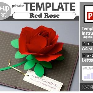 Template Pop Up Card Red Rose Pdf Digital Download File Etsy In 2020 Pop Up Cards Template Printable Red Roses