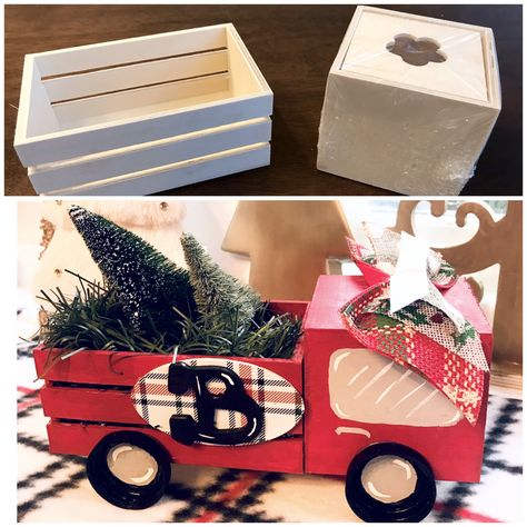 Dollar Tree Red Truck Christmas Craft