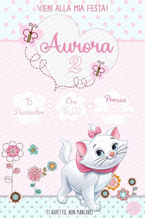 Digital Printable Invitation Party MINOU-ARISTOCATS - Invito digitale compleanno, messaggistica ista