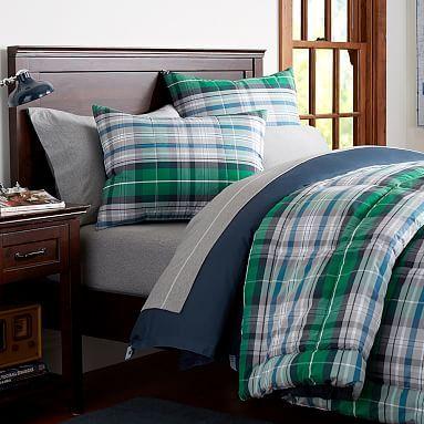 Portsmith Plaid Sham Bedding, Navy Blue And Kelly Green Bedding