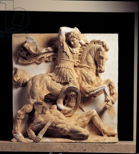 Alexander the Great at the Battle of Issus (stone). Alexander III of Macedon (356-323 BC); The Battle of Issus occured in southern Anatolia, in November 333 BC; the invading troops, under Alexander the Great, defeated the army personally led by Darius III of Achaemenid Persia