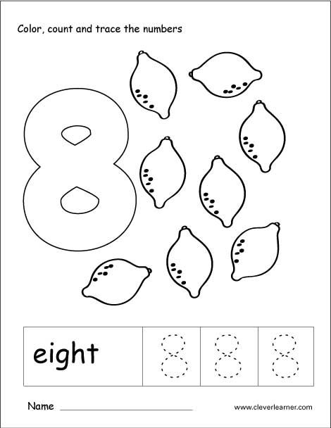 Number 8 Tracing And Colouring Worksheet For Kindergarten Number Worksheets Coloring Worksheets For Kindergarten Numbers Preschool