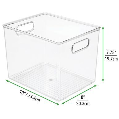 Cabinet or Closet Classroom Sewing mDesign Large Plastic Storage Organizer Bin Studio Great for Kids Craft Rooms Built-in Handles 2 Pack Clear Holds Crafting Art Supplies for Home