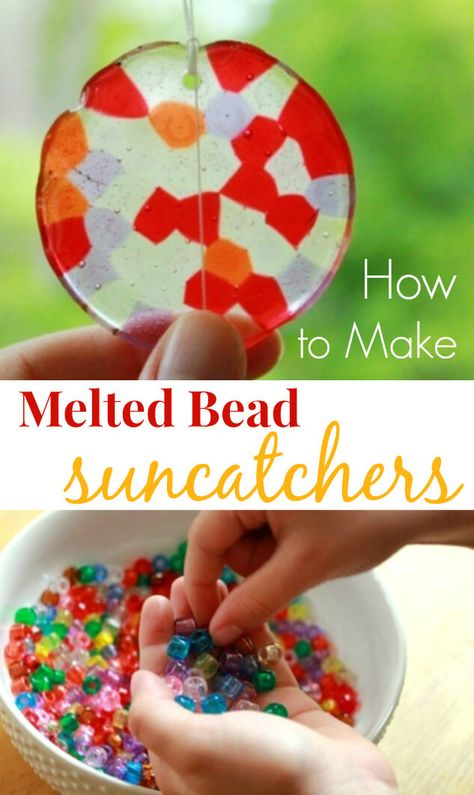 bead crafts Melted bead suncatchers are easy to make from kids plastic pony beads. these step-by-step instructions to make a beautiful and durable suncatcher. via TheArtfulParent Crafts To Do, Diy Crafts For Kids, Art For Kids, Craft Ideas, Children Crafts, Crafts Toddlers, Diy Ideas, Kids Fun, Children's Arts And Crafts