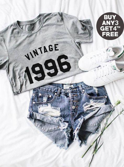 Vintage Tshirt 22nd Shirt Birthday Gifts 1996 Graphic Women Hipster Tumblr