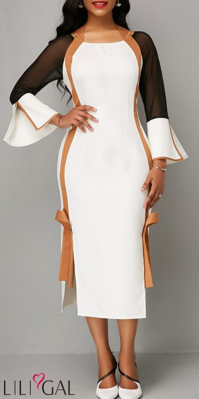 4be529aade3 USD32.69 Tie Back Side Slit Flare Sleeve White Dress  liligal  dresses