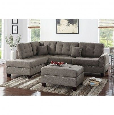 3 Pcs Polyfiber Sectional Sofa Set In Coffee Sectional Sofa Sofa Set Sectional Sofa Couch
