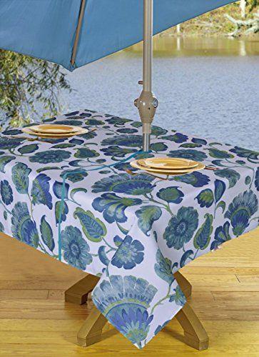 Tablecloths Outdoor Tablecloth With Umbrella Hole Zipper Blue 54