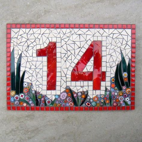 Custom Mosaic House Number, Sign, Plaque, Street Address, Yard Art, Bespoke Number,Digit, Outdoor,Wall hanging,ornament,Glass,door number,  Made to order item.  Stained Glass, ceramic tile and Italian Millefiori have been used to create this plaque which has a Corian® base.  Made using exterior