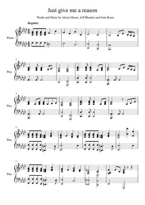 Just Give Me A Reason Piano Acc Sab Sheet Music For Piano
