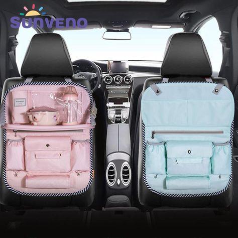 Cute Cars Accessories Discover SUNVENO Multi-color Auto Car Seat Back Bag Cloth Multi-Pocket Storage Bag Organizer Holder Accessory Diaper bag