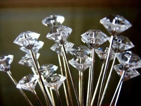 BOX of 100 Diamante Pins Bouquet Jewelry Diamond Wedding Flowers Cake Jewel Pin