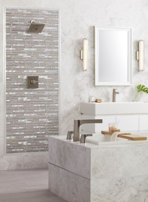 Siberian Pearl Brushed Marble Wall And Floor Tile 12 X 24 In In 2020 The Tile Shop Marble Bathroom Wall And Floor Tiles