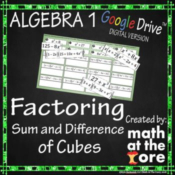 In This Digital Activity Students Will Factor Binomials Using The Sum And Difference Of Cubes Method Social Studies Worksheets Factor Trinomials Polynomials