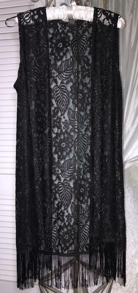 1475905c899 Details about XL/1X/2X/3X/OS New Black Lace Long Fringe Kimono ...