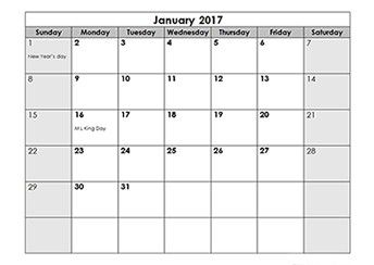 2017 Calendar Templates Download 2017 Monthly Yearly Quick