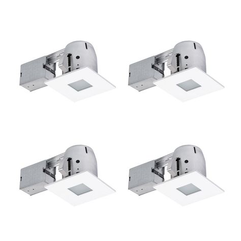 Globe Electric 4 In Square Matte White Recessed Bathroom Kit With Frosted Glass 4 Pack Recessed Lighting Kits Light Bulb Bases Globe