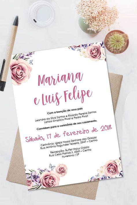 Convite Casamento Rose Floral Editavel No Word 0012 Com Imagens
