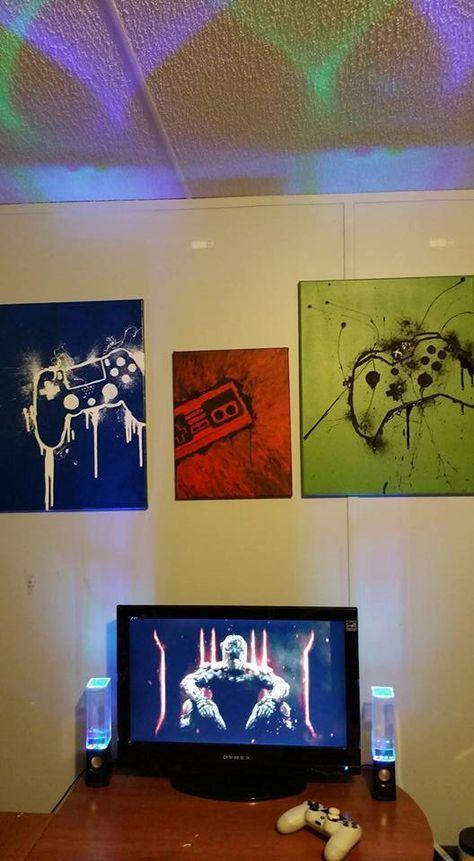 Video Game Wall Art Includes Playstation Xbox /& Wii Controllers /& Joy Stick Designs DEKOSH Gamer Room Decor for Boys