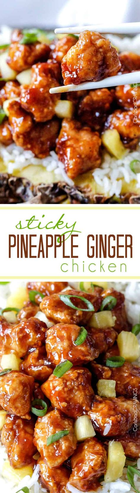 Pineapple Ginger Chicken can be baked or stir fried then smothered in sticky sweetpineapplesauce with a ginger Sriracha kick that is WAY better than takeout.This Pineapple Ginger Chicken recipe might just become your favorite chicken - ever. via @carlsbadcraving