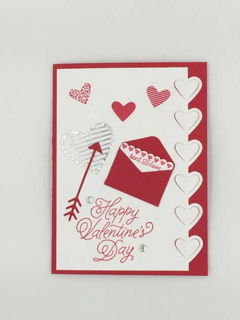 *This hand made Valentines Day card is just a unique way to say Happy Valentines Day! The message inside the small envelope on the front says sent with love while the two gemstones and silver foiled heart add sparkle. The die-cut hearts on the edge and popped hearts at the top provide dimension. * Inside is left blank for your personal message.  * Approx size of card is 4 x 5.5  * Card and envelope are shipped in clear cellophane sleeve.  * Card made in and shipped from my smoke-free home stu...