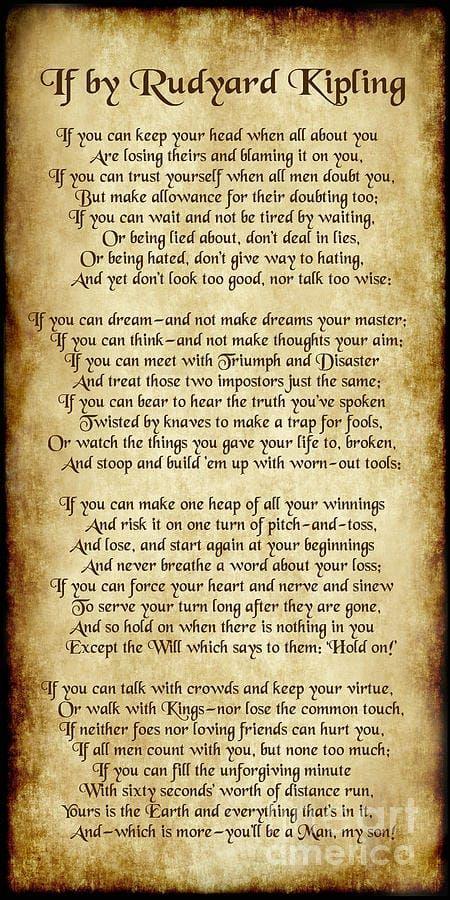If Rudyard Kipling If Rudyard Kipling Trust Yourself Kipling
