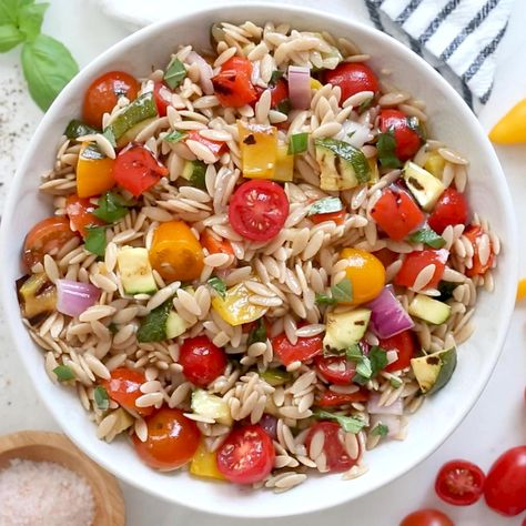 Grilled Vegetable Orzo Pasta Salad, great summer side dish for anything you're grilling.
