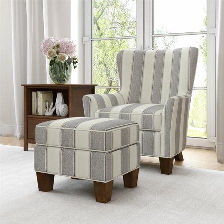 Better Homes Gardens Grayson Accent Chair Ottoman Set Gray Stripe Walmart Com Chair And Ottoman Set Chair And Ottoman Accent Chairs