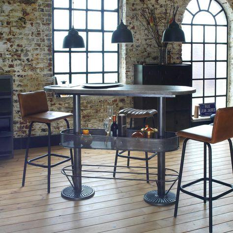 Table Haute Ovale Bois Metal Patine Grise Avec Rangement Table Haute Cuisine Table Haute Et Mobilier De Salon