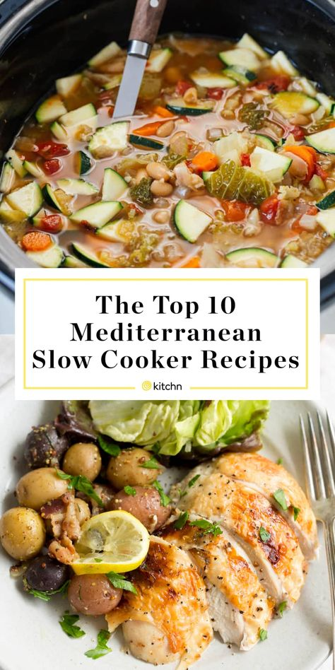 Our Top 10 Mediterranean Diet Recipes to Make in Your Slow Cooker - Slow Cooking Slow Cooker Lentil Soup, Vegetable Slow Cooker, Vegetable Recipes, Easy Mediterranean Diet Recipes, Mediterranean Dishes, Mediterranean Diet Breakfast, Low Carb Meal, Cooking Salmon, Diet Meal Plans
