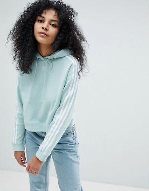 8d59b14cd6 adidas Originals adicolor Three Stripe Cropped Hoodie In Mint | Tops ...