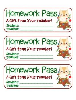 These are cute little homework passes to give to your students to ...