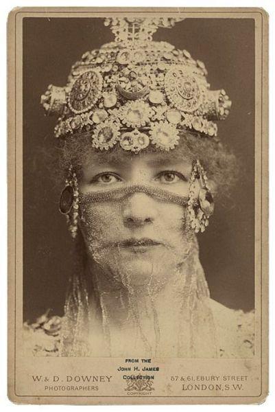 "Sarah Bernhardt as Théodora, 1884 - photo by W. Downey - ca. [albumen portrait of actress Sarah Bernhardt, in character as the Empress Theodora in Sardou's ""Theodora"""