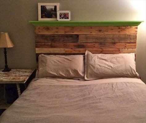 DIY Pallet Floating Headboard with