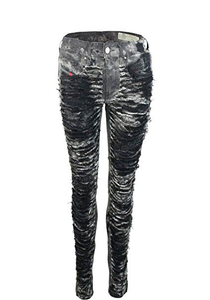 35cd042b483e DIESEL Skinny Jeans DHARY Destroy Allover Druck grau/schwarz Größe ...