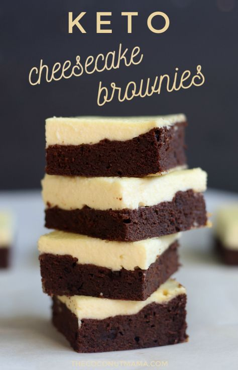These keto cheesecake brownies are the best keto dessert! The bottom brownie layer is a flourless brownie topped with a sugar-free cheesecake. These keto cheesecake brownies are the best keto dessert! The bottom brownie lay. The Coconut Mama thec Keto Desserts, Mini Desserts, Brownie Desserts, Keto Dessert Easy, Keto Friendly Desserts, Oreo Dessert, Sugar Free Desserts, Dessert Recipes, Brownie Toppings