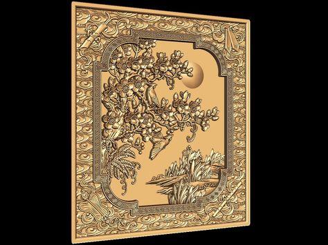 3D STL CNC Model Panel #127 file for CNC Router Carving Machine Printer Relief Artcam Aspire Cut3d